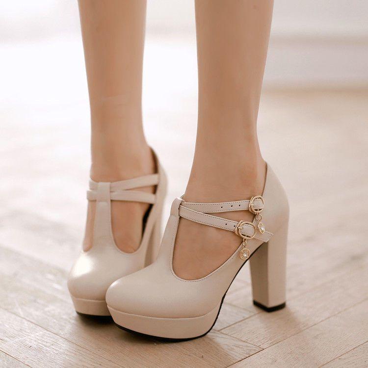 Ta Womens T-Strap Mary Janes Platform Block Chunky Heel Shoes Round Toe WEdding