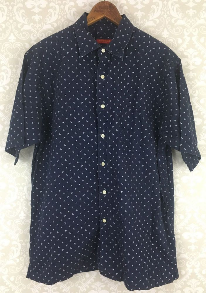 Austin Reed Button Down Shirt L Navy Blue Dotted Short Slv 100 Cotton Austinreed Buttonfront Casual Shirts Casual Shirts For Men Austin Reed