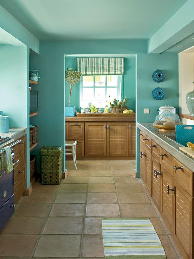 House Of Turquoise Barry Dixon Interiors Blue Kitchen Walls