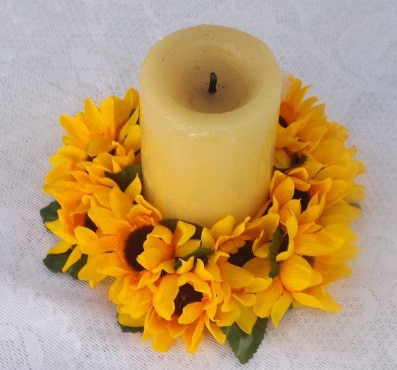 """15 Años Con Tema De Girasoles: Sunflowers Candle Ring 6"""" \ Centro De Mesa Para Velas Con"""