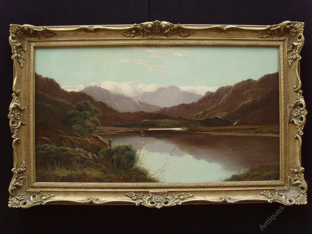 Antiques Atlas Charles Leslie 1839 86 Large Oil Landscape Angler Antique Oil Painting Painting Antiques