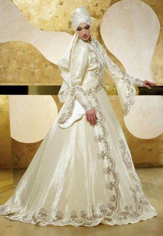 Turkish White Wedding Dresses With Veils For Moslem Bride Turkish Wedding Turkish Wedding Dress Embroidered Wedding Dress
