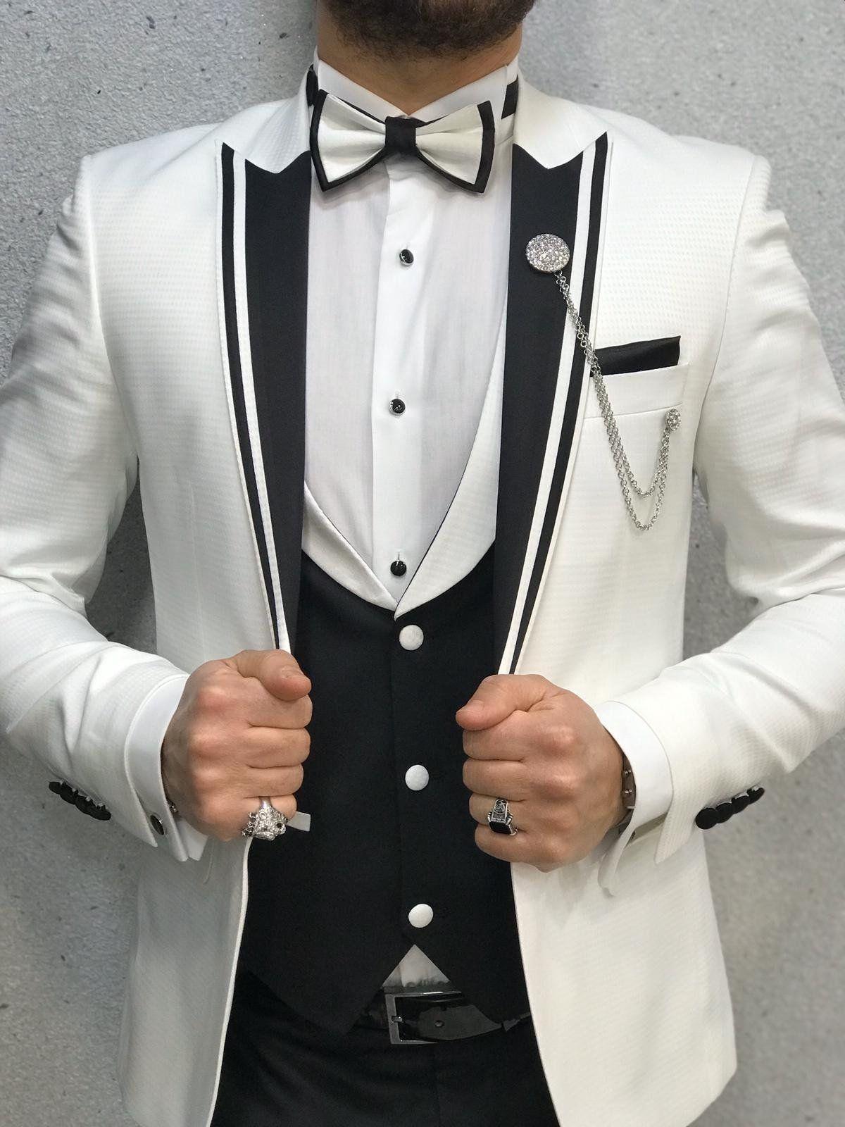 Infinite White Tuxedo with Black Vest in 2020 Slim fit