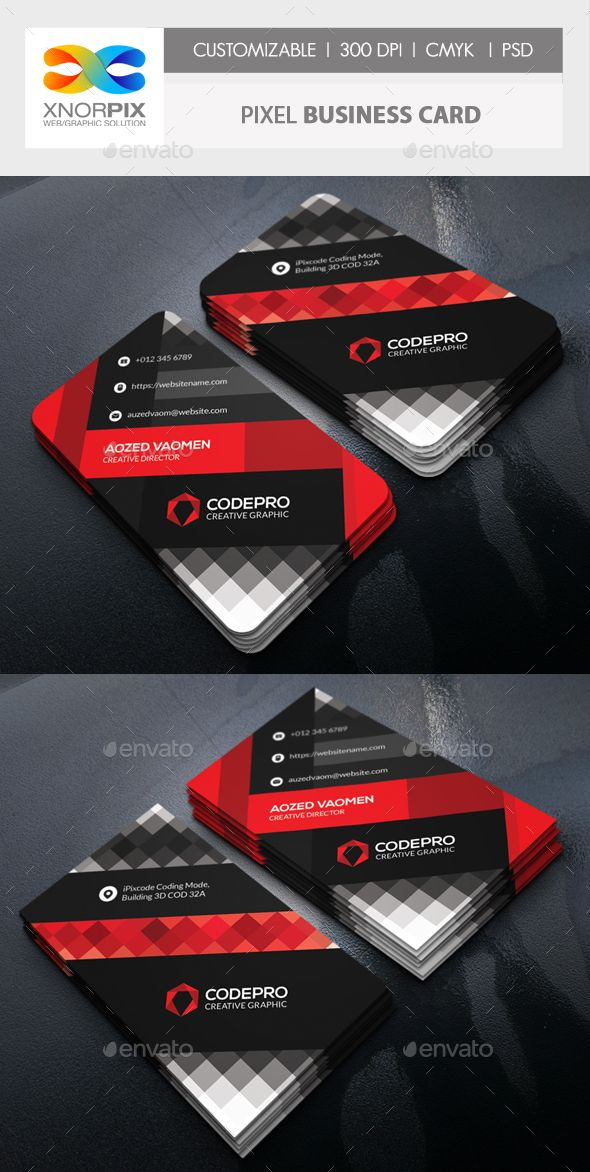 Pixel Business Card | Business cards, Card templates and Corporate ...