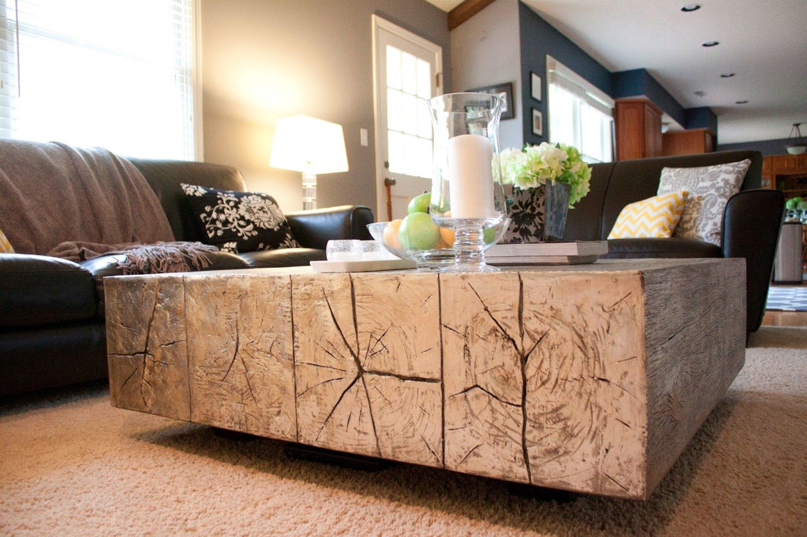 Cozy Contemporary: Living Room = Done! Coffee Table Made