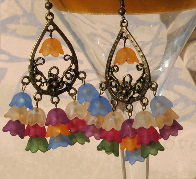 Multi Fall color beaded dangle earrings