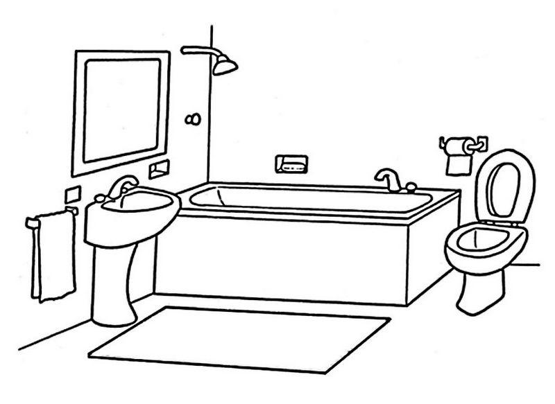 Modern And Clean Bathroom Coloring Page แบบฝ กห ดเด ก ห องน ำ