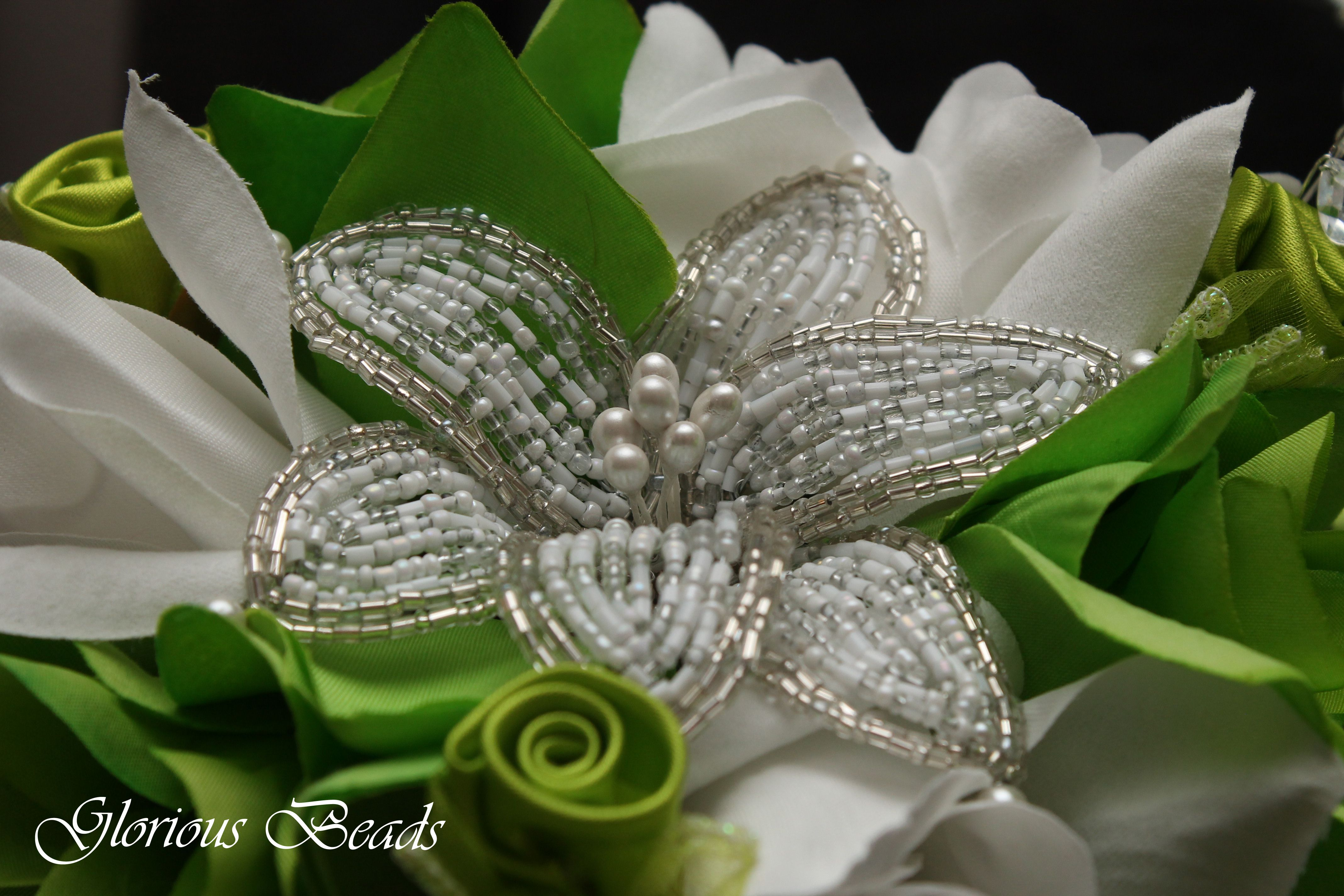 Handcrafted Beaded Lilies in Wedding Bouquets...  http://stores.ebay.com/Glorious-Beads-Wedding-Flowers