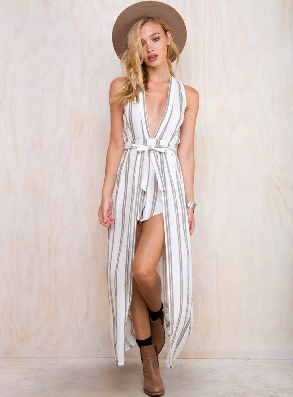 04a423003ae Villa+Playsuit+-+Villa+Jumpsuit+by+Runaway+the+Label Striped+playsuit Maxi+overlay  Plunging+neckline Tie+up+belt+at+waist Belt+loops Invisible+zip+at+back ...