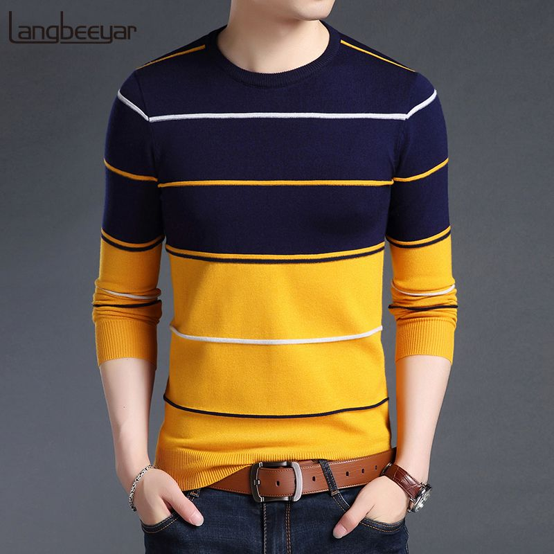 SELX Men Fashion Casual Horizontal Stripes Long Sleeve Slim Fit Pullover Sweater