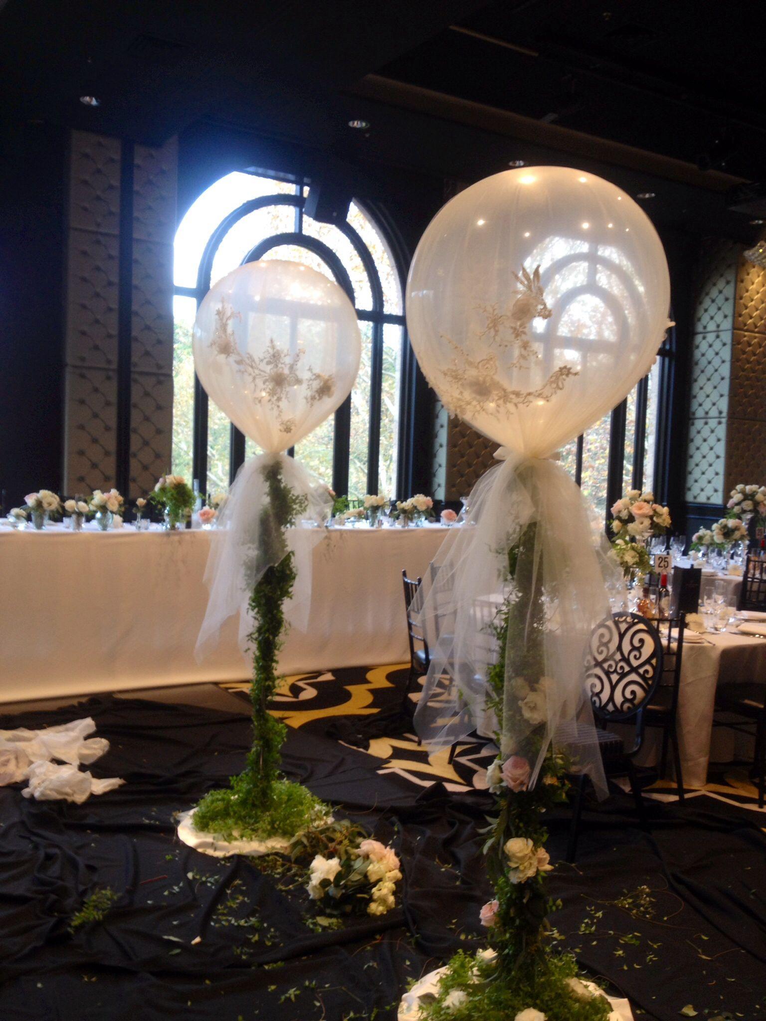 Gorgeous tulle wrapped around ft diamond clear balloons