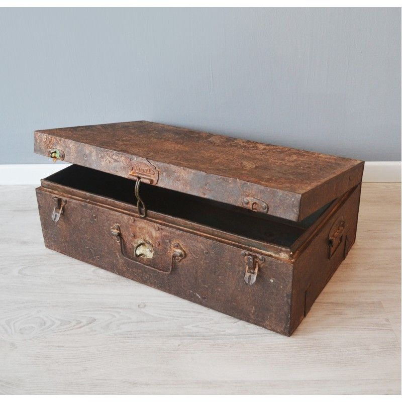 Houten Kist Koffer.Vintage Koffer Metaal Roest Koffers Kisten Koffer