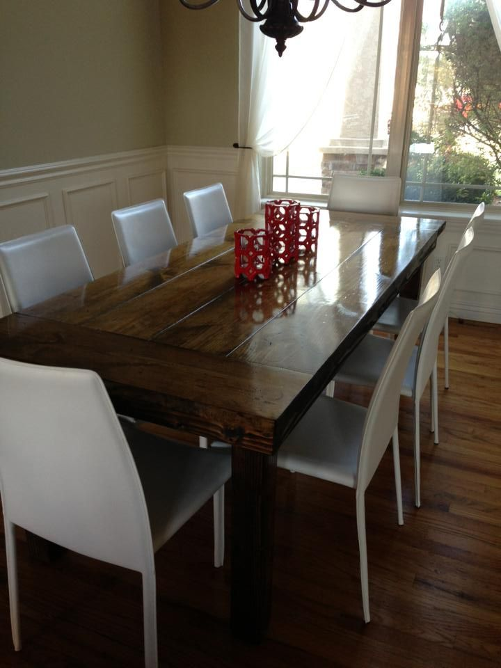 7ft All Wood James Farmhouse Dining Table With End Caps In Sunset Stain White Chairs