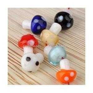 Handmade Murano Glass Mushroom Loose Beads