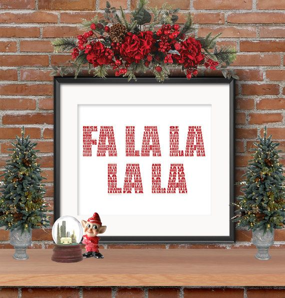 Fa La La La La Printable, Instant Download, Deck the Halls Lyrics, Christmas Decoration | Deck ...