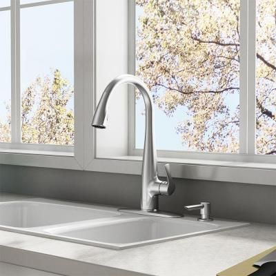 American Standard Lillian Single Handle Pull Down Sprayer Kitchen Faucet With Soap Dispenser In Stainless Steel 4144ssf The Home Depot Kitchen Faucet Traditional Kitchen Faucets Kitchen Handles