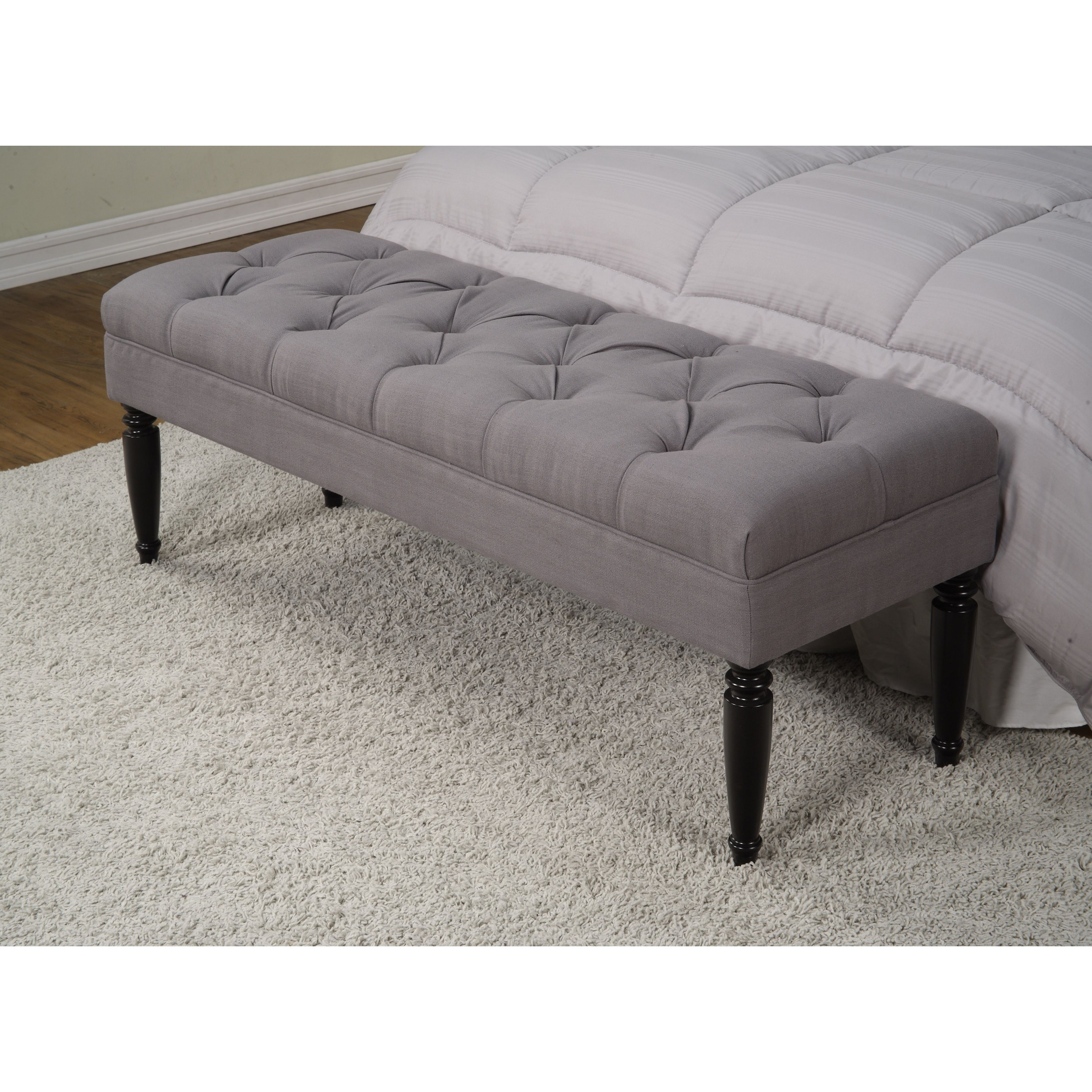 Claudia Diamond Wale Grey Tufted Bench Overstock Shopping Great