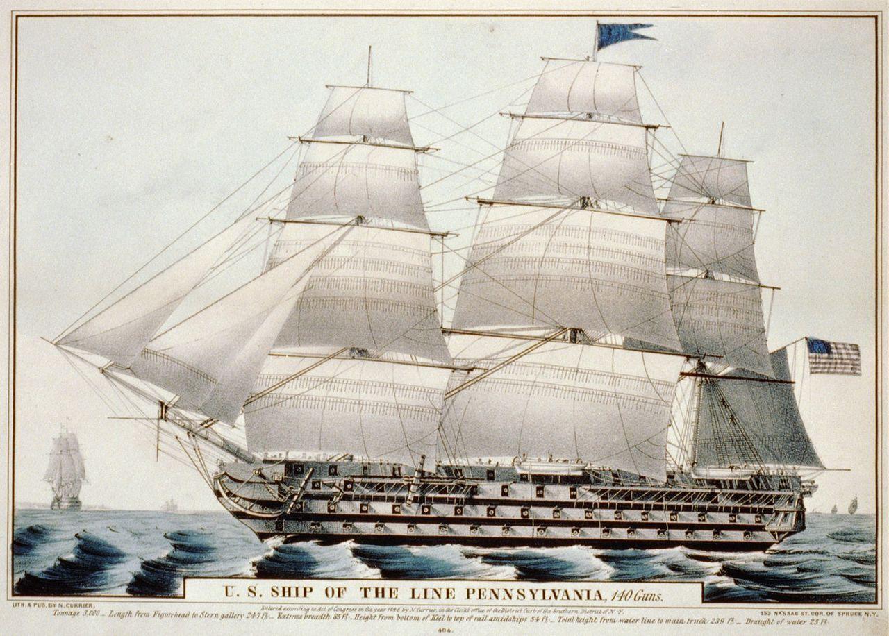 Uss Pennsylvania 1837 U S Ship Of The Line Pennsylvania 140