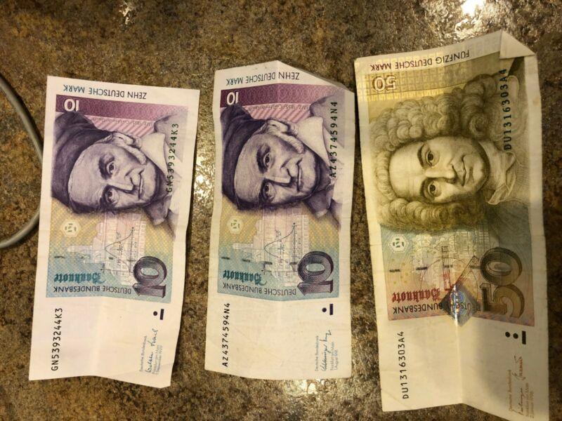 Collecters Item 70 Deutsche Marks 1 X 50 Dm And 2 X 10 Dm Good Shape Deutsch Marks 10 Things