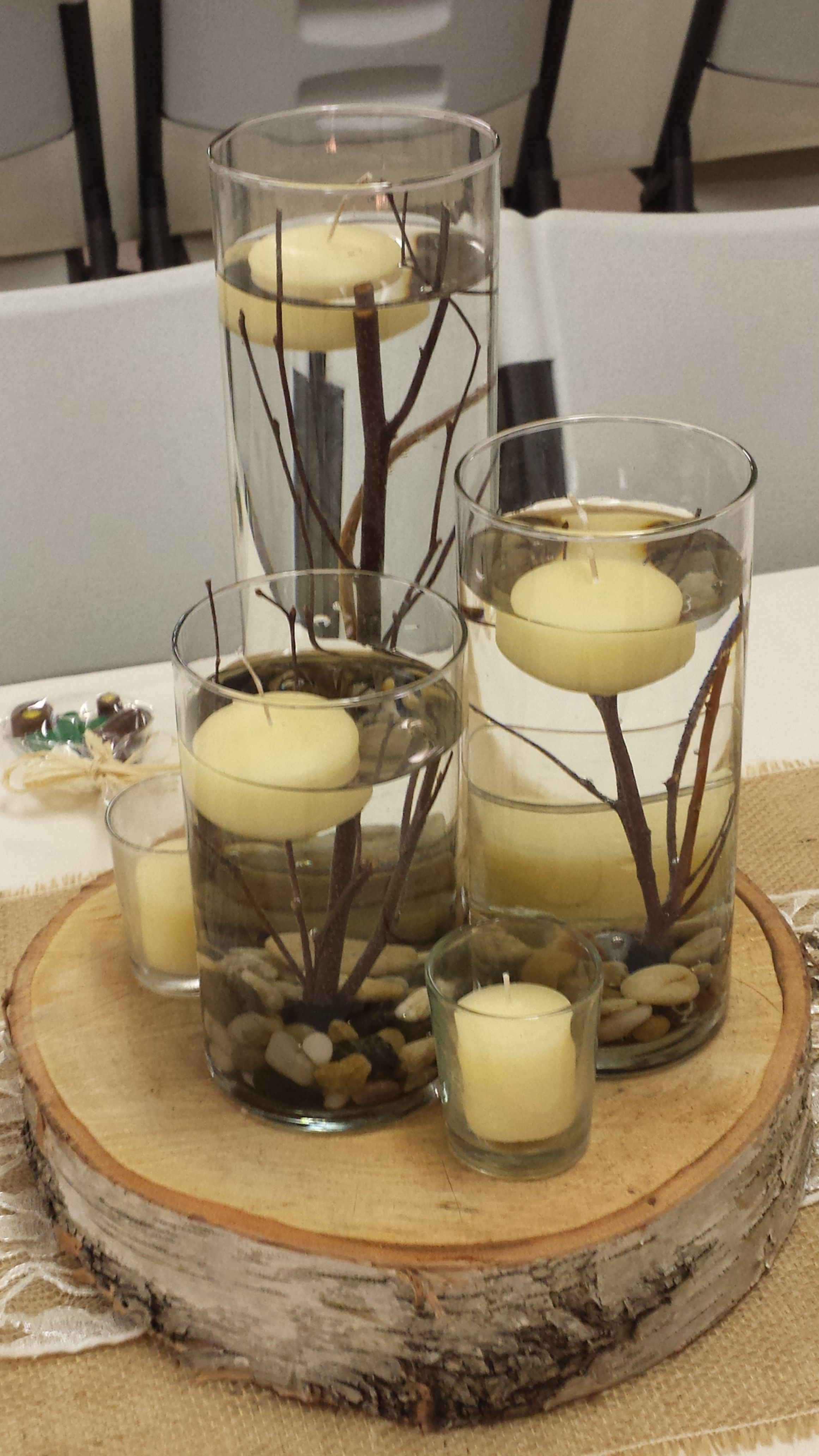 Rustic wedding centerpiece cylinder set with sticks and