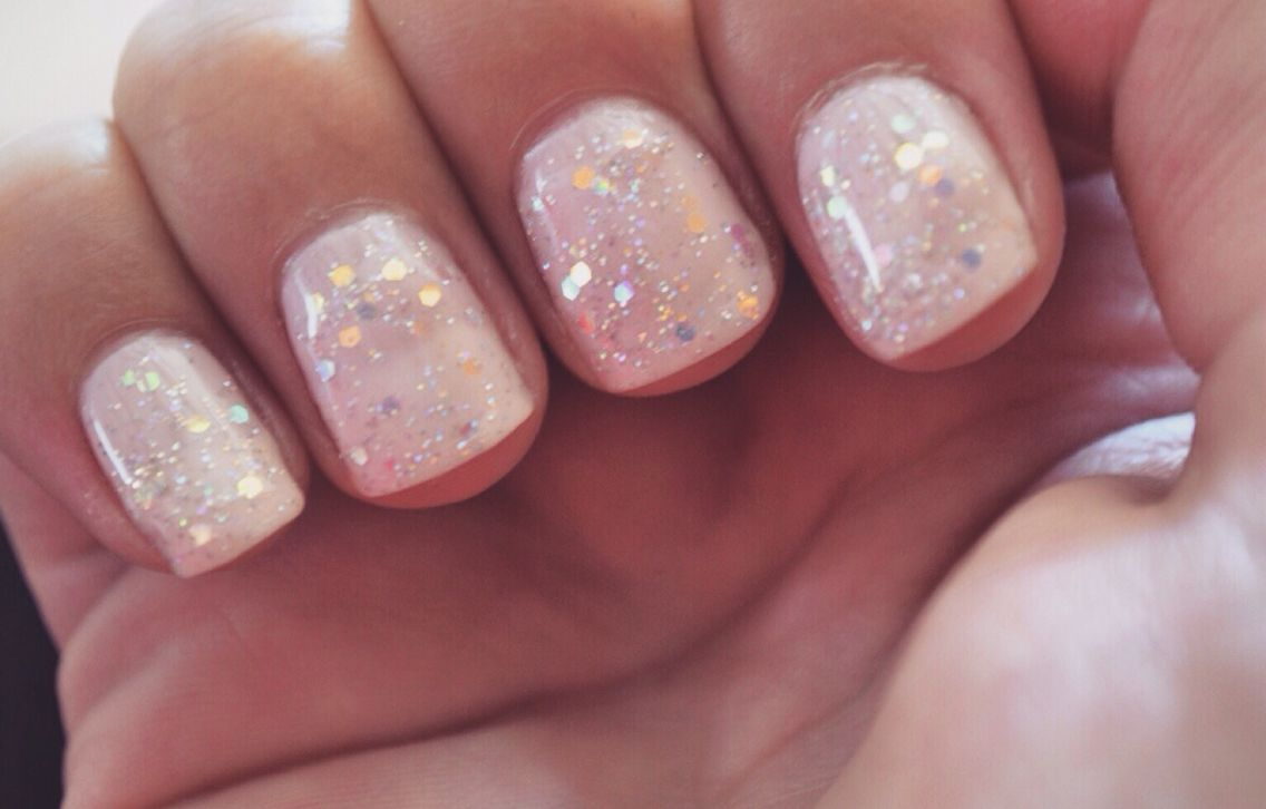 nude with sparkle | makeup | Nails, Shellac nails, Wedding ...