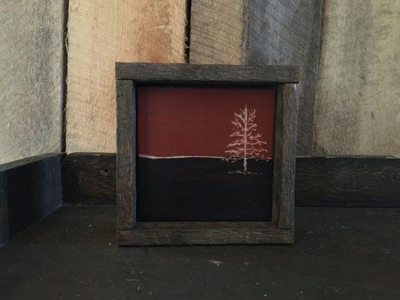 Engraved Art - Rustic Home Decor - Folk Art - Primitive Decor - Minimalist Art - Brown Decor - Landscape Painting - Tree Painting - Amish