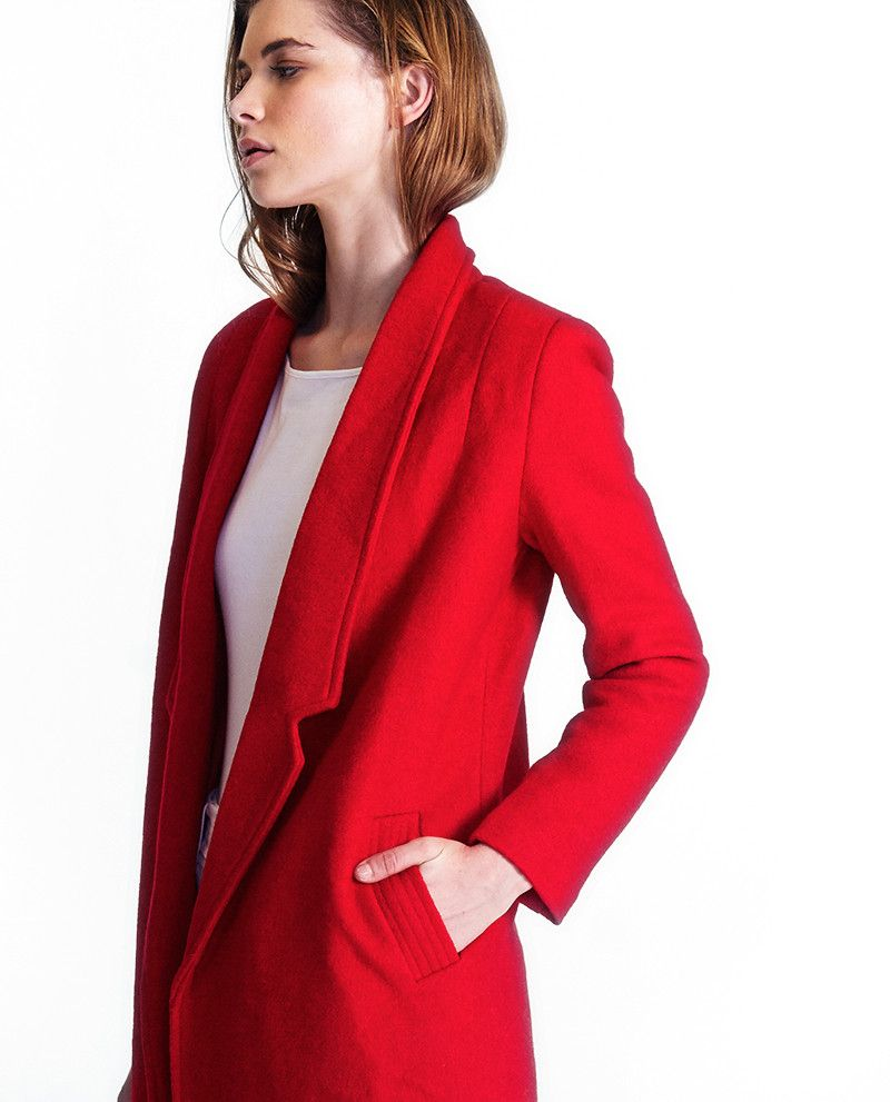 Friend of Audrey  - Tara Red Wool Coat