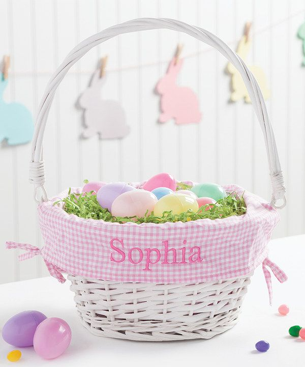 Look at this white pink wicker personalized easter basket on easter negle Images
