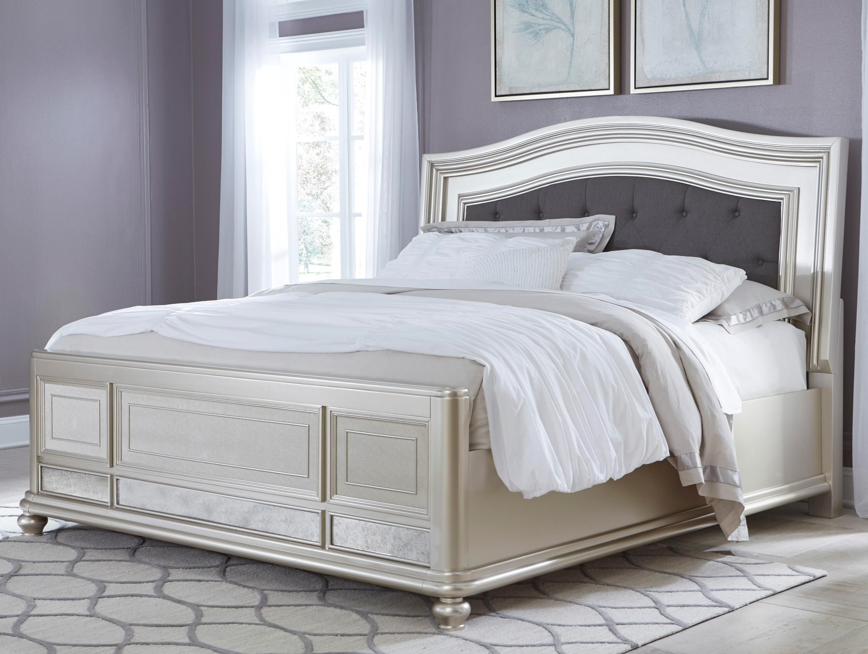 Coralayne Queen Panel Bed with Upholstered Headboard by