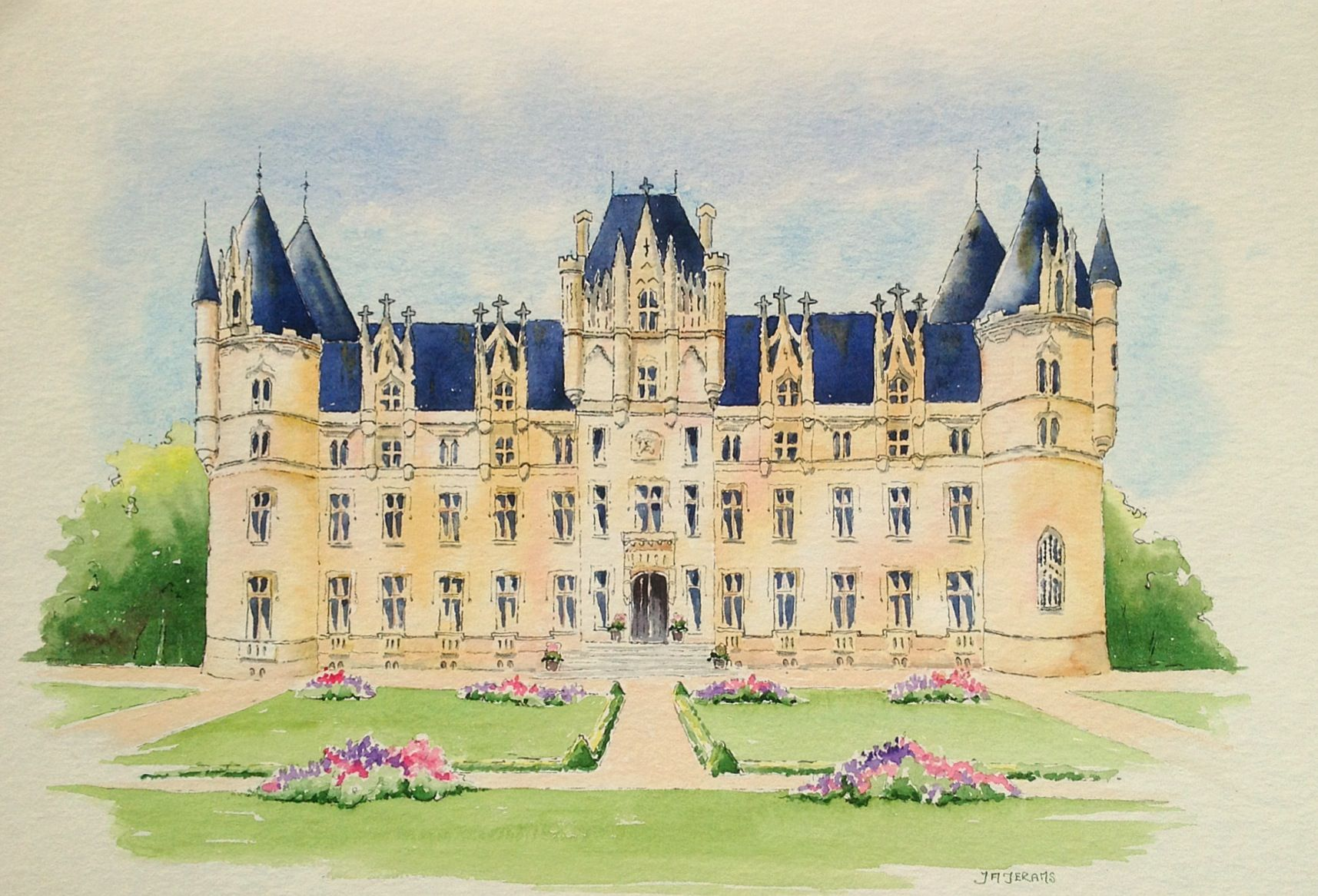 Watercolor painting of the stunning Chateau at Challain la Potherie, where wedding dreams come true. Art by Judith Jerams.