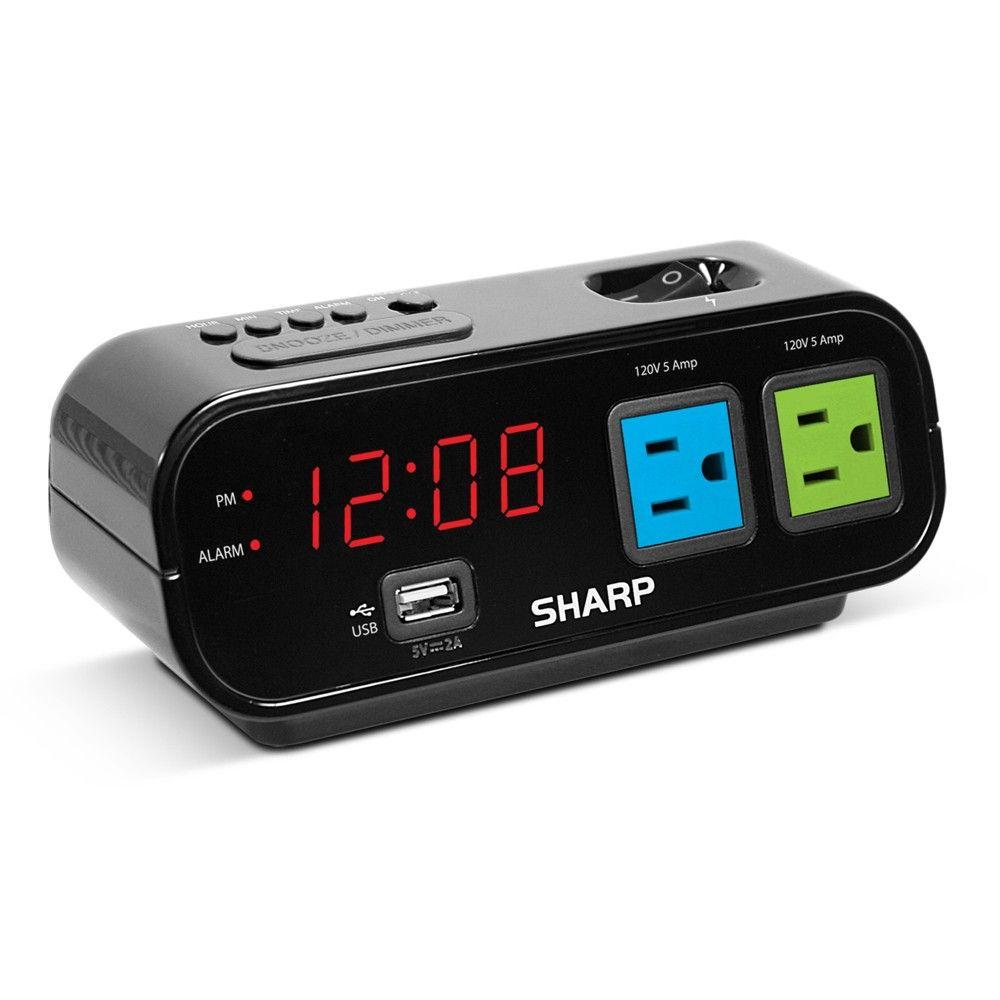 Outlet Digital Alarm Clock Black Sharp In 2020 Digital Alarm Clock Alarm Clock Alarm