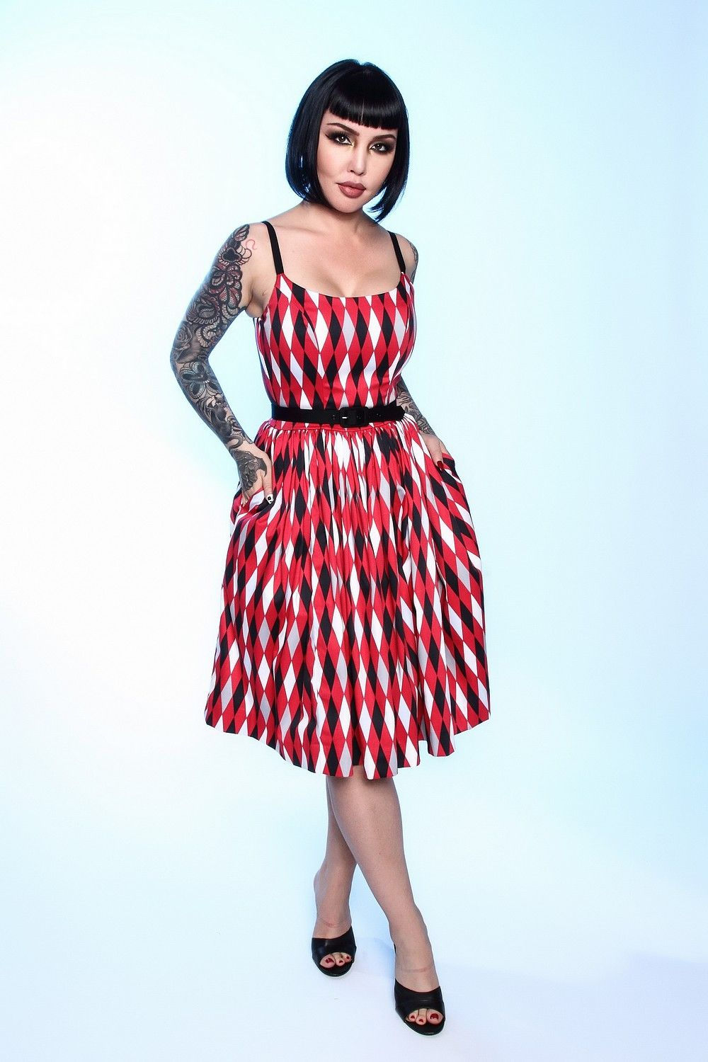 68a9207bd902c Pinup Couture Jenny Dress in Bad Girl Harlequin | Retro Style Swing Dress | Pinup  Girl Clothing