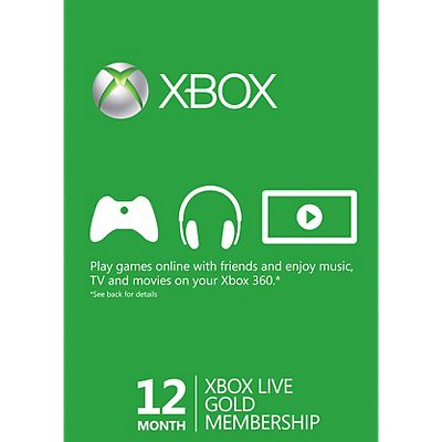 Xbox Live Gold  Month Membership Card  Free Games Xbox