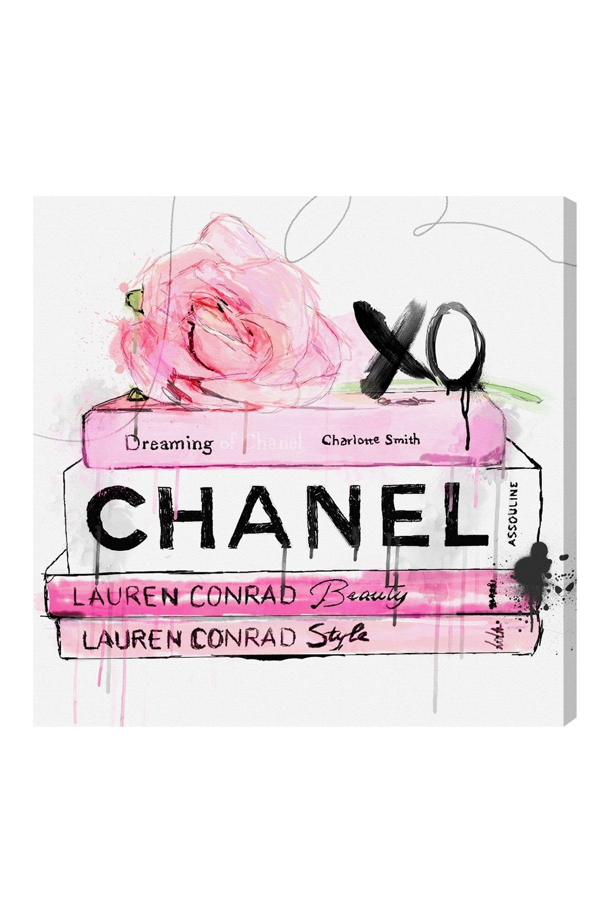 Dripping rose books canvas art on hautelook chanel wall art