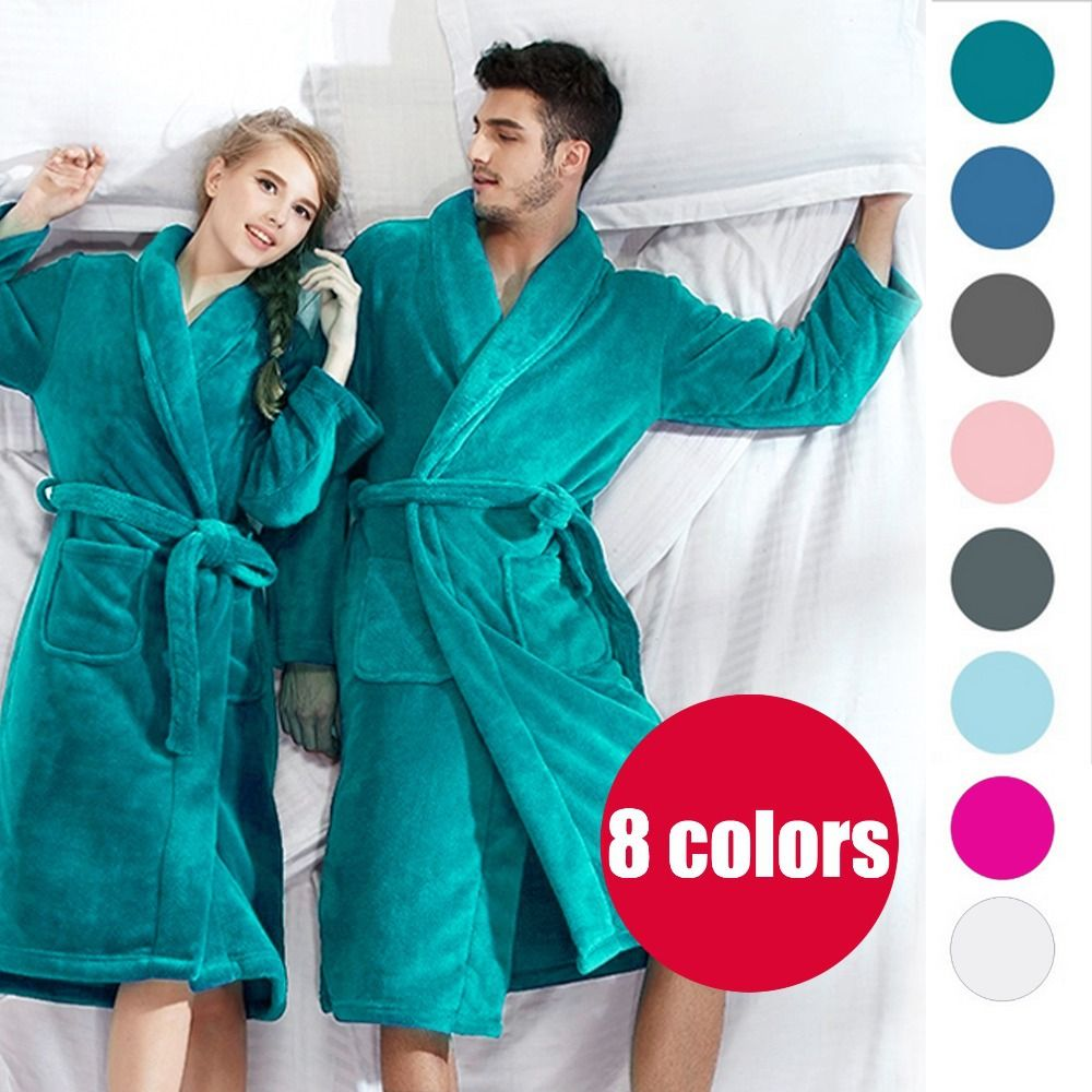 30457904fc (Buy 1 Get Slippers Free) Bath Robe Women Bathroom Robe Men Bathrobe Men  Pajama Thick Long Spa Robe Shower Homewear Coral Fleece