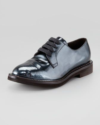 1ad20ba9d7fa68 Awesome Oxford in NAVY Metallic+Lace-Up+Oxford+by+Brunello+Cucinelli +at+Neiman+Marcus.