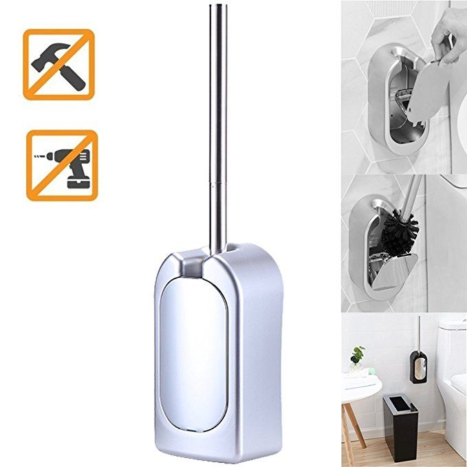 Berket Compact Wall Mounted Toilet Brush Holder Bathroom Brush With Plating Stainless Steel Handle Silve Toilet Brush Wall Mounted Toilet Toilet Brush Holders
