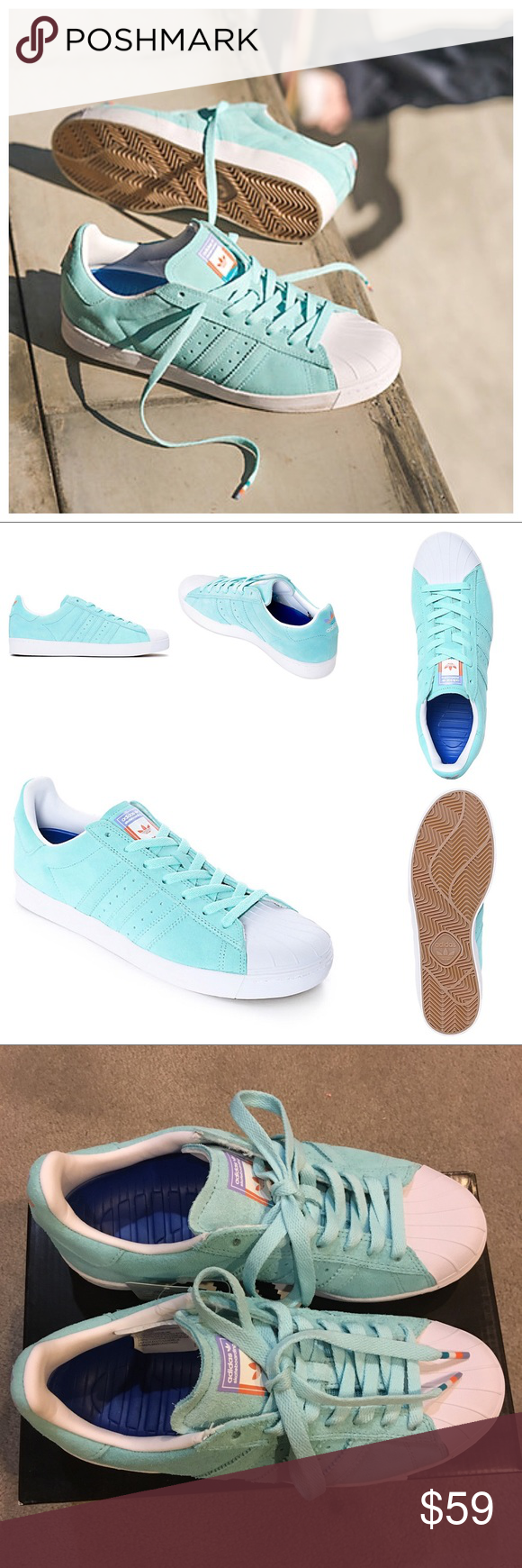 9c24889a5f45 Adidas Superstar Pastel Blue Adidas Superstar Vulc ADV Pastel Blue Shoes  Unisex sizing  4.5 M