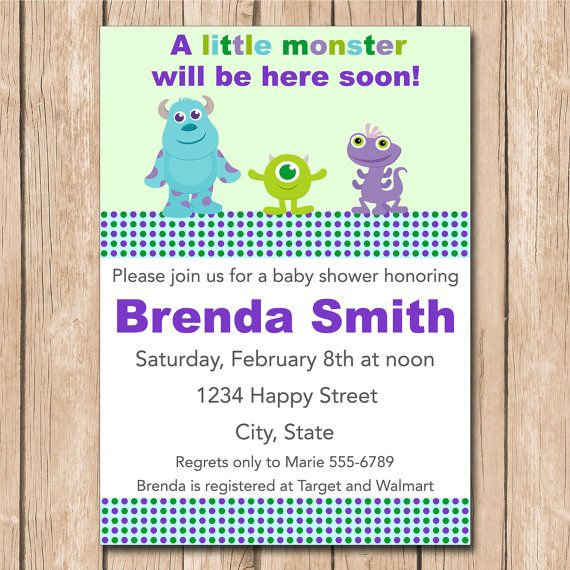 Mini Monsters Inc. Baby Shower Invitation | Boy Or Girl, Neutral   1.00 Each