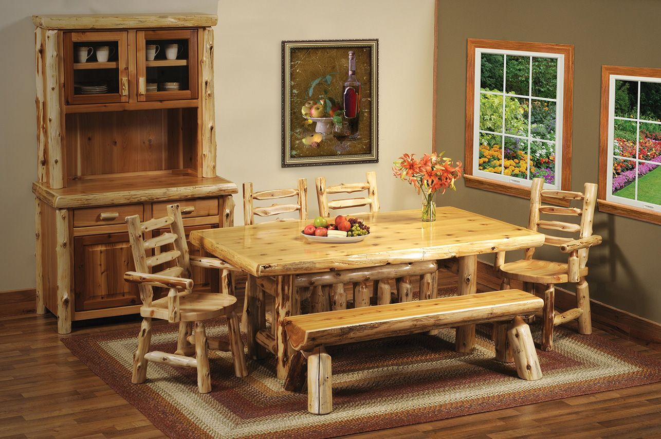 ... Cedar Log Dining Set   Handcrafted In The USA. See More Of Our Cedar  Furniture Here: Http://www.logcabinrustics.com/cedar Log Furniture Dining  Room.html