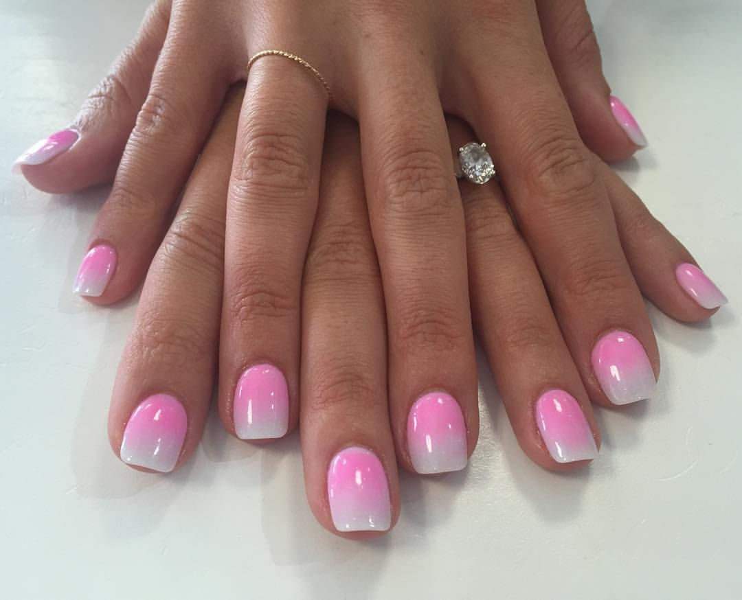 Pink and white ombré dip powder nails for the bride to be, done by ...