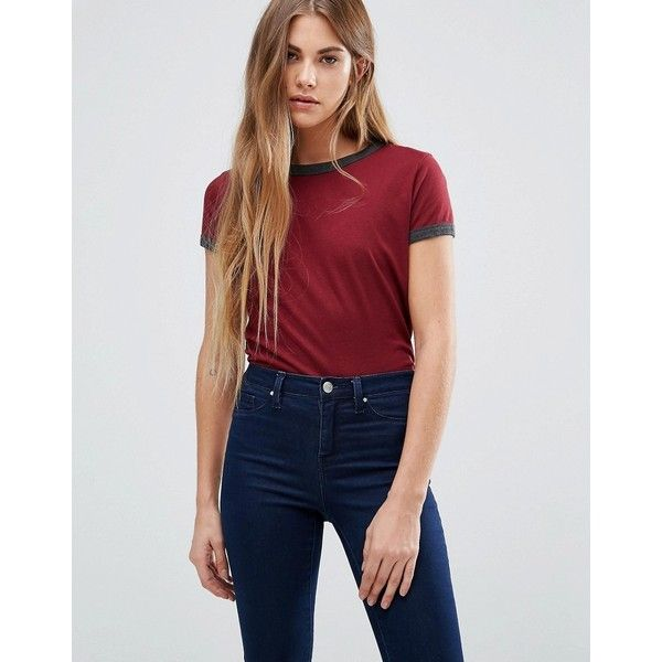 Brave Soul T-Shirt With Contrast Trim (8.53 CAD) ❤ liked on Polyvore featuring tops, t-shirts, red, short sleeve t shirts, red t shirt, cotton jersey, jersey tee and cotton jersey t shirt