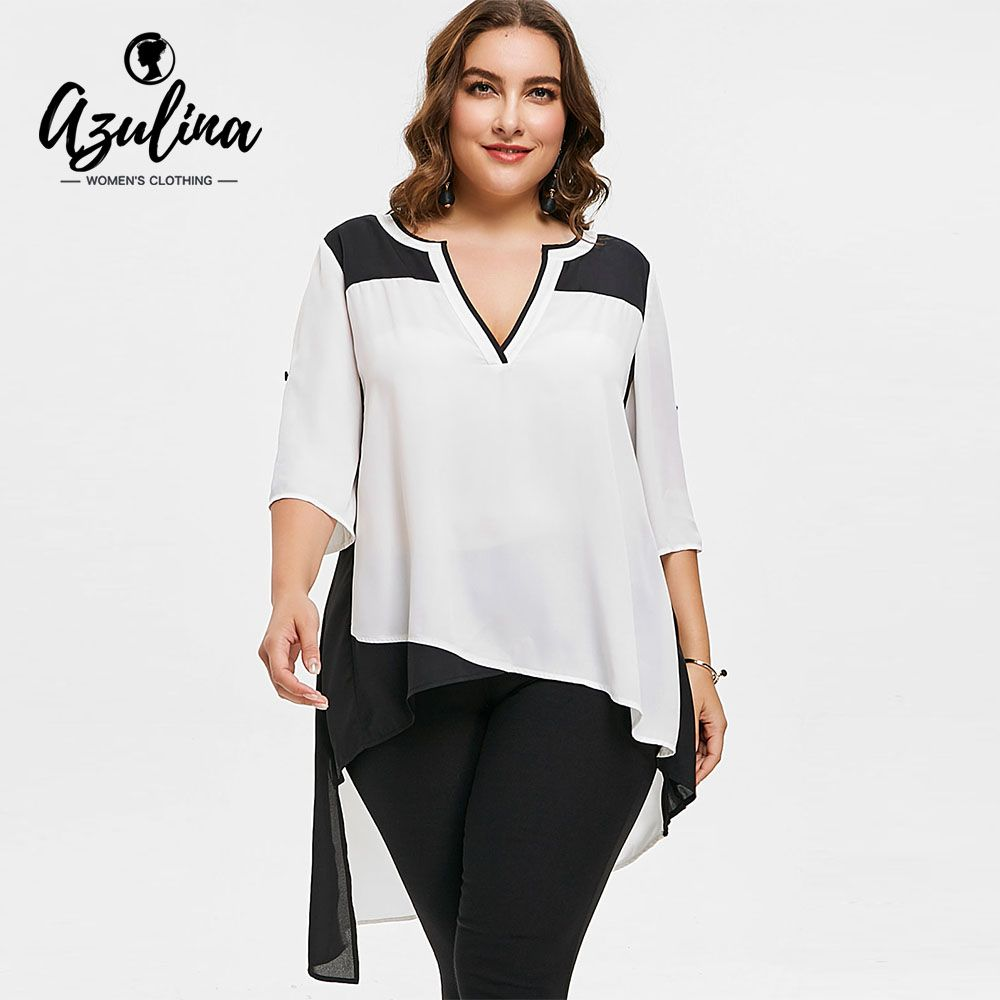 Plus Size Two Tone Asymmetric Low Blouse Women Blouses Shirts V Neck 3 4  Sleeves ad4c506ae019