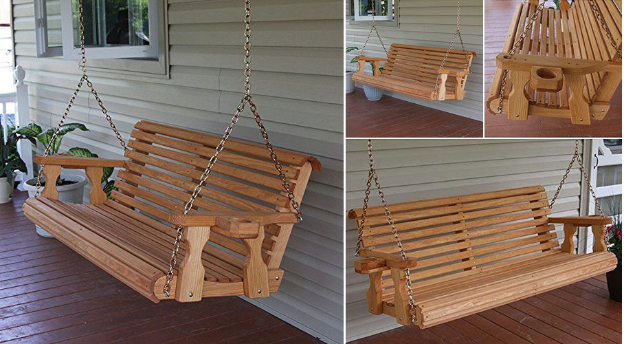 The epitome of suburban life. This porch swing would be a comfortable outdoor addition on a warm summer's night.