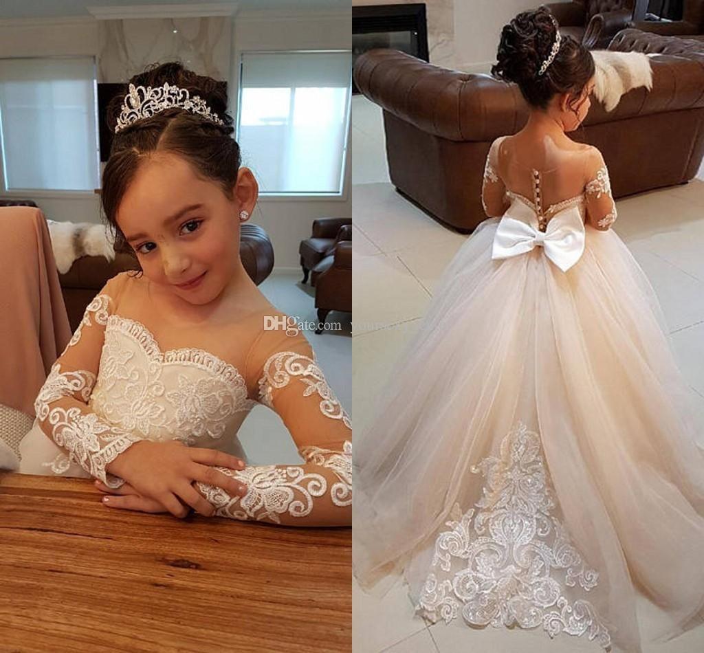 new cheap flower girls dresses for weddings jewel neck long