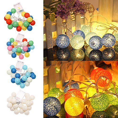 10AUD - 3M 20 Led Colorful Cotton Ball Led String Christmas Wedding