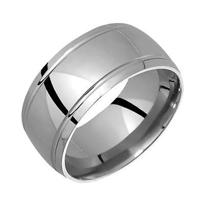 New Stylish Mens Titanium Ring Wedding Band For Engagement 12mm Wide Handmade