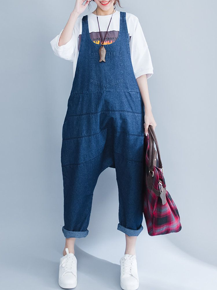 4fd20cb2fe1 Casual Loose Pure Color Strap Pocket Jumpsuit Trousers Overalls ...