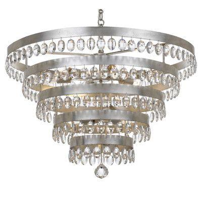 Mercer41 Opal 9 Light Crystal Chandelier