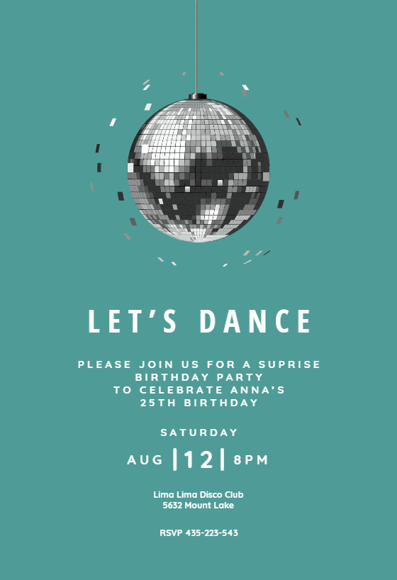 disco ball invitation template customize add text and photos